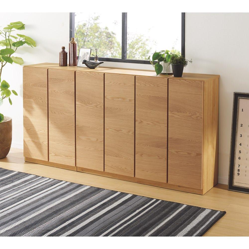 【完成品】扉が選べるオーク材のモダン本棚 板扉 幅60cm ※左から幅60cm 板扉、幅120cm 板扉になります。
