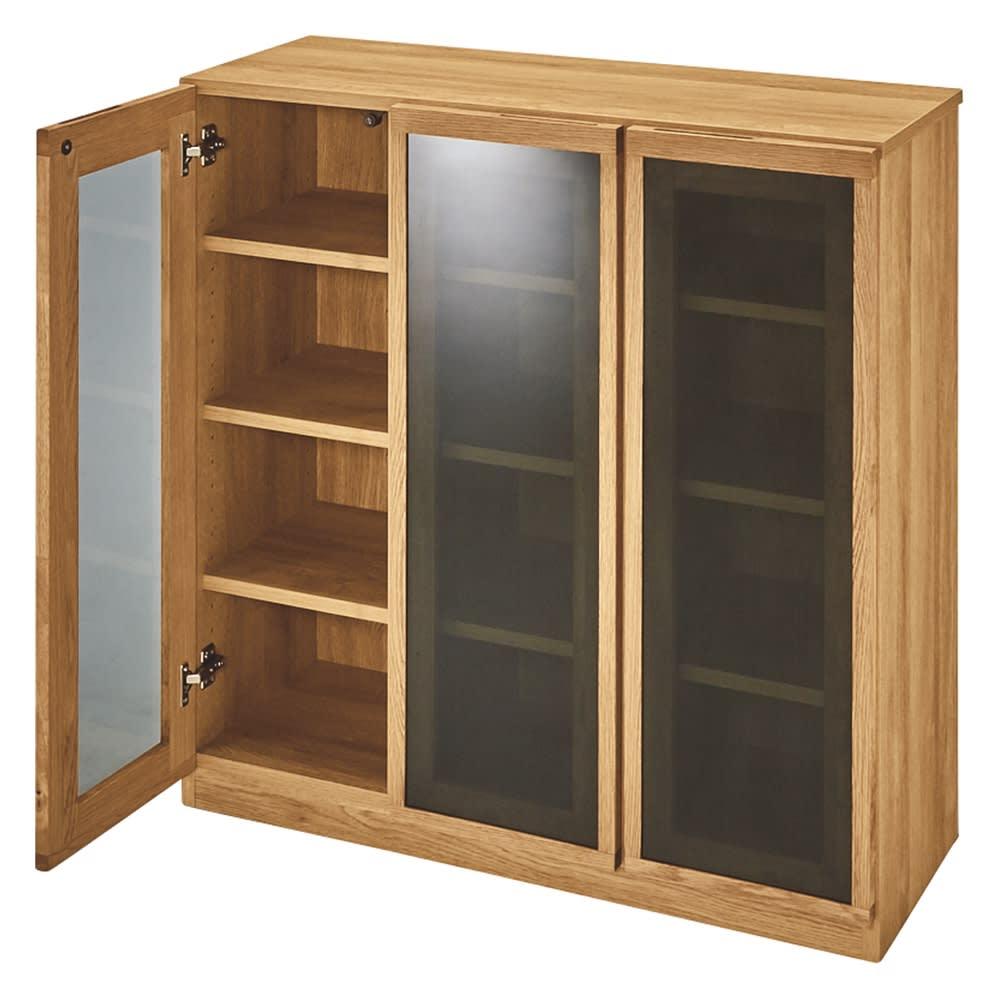 【完成品】扉が選べるオーク材のモダン本棚 ガラス扉 幅90cm