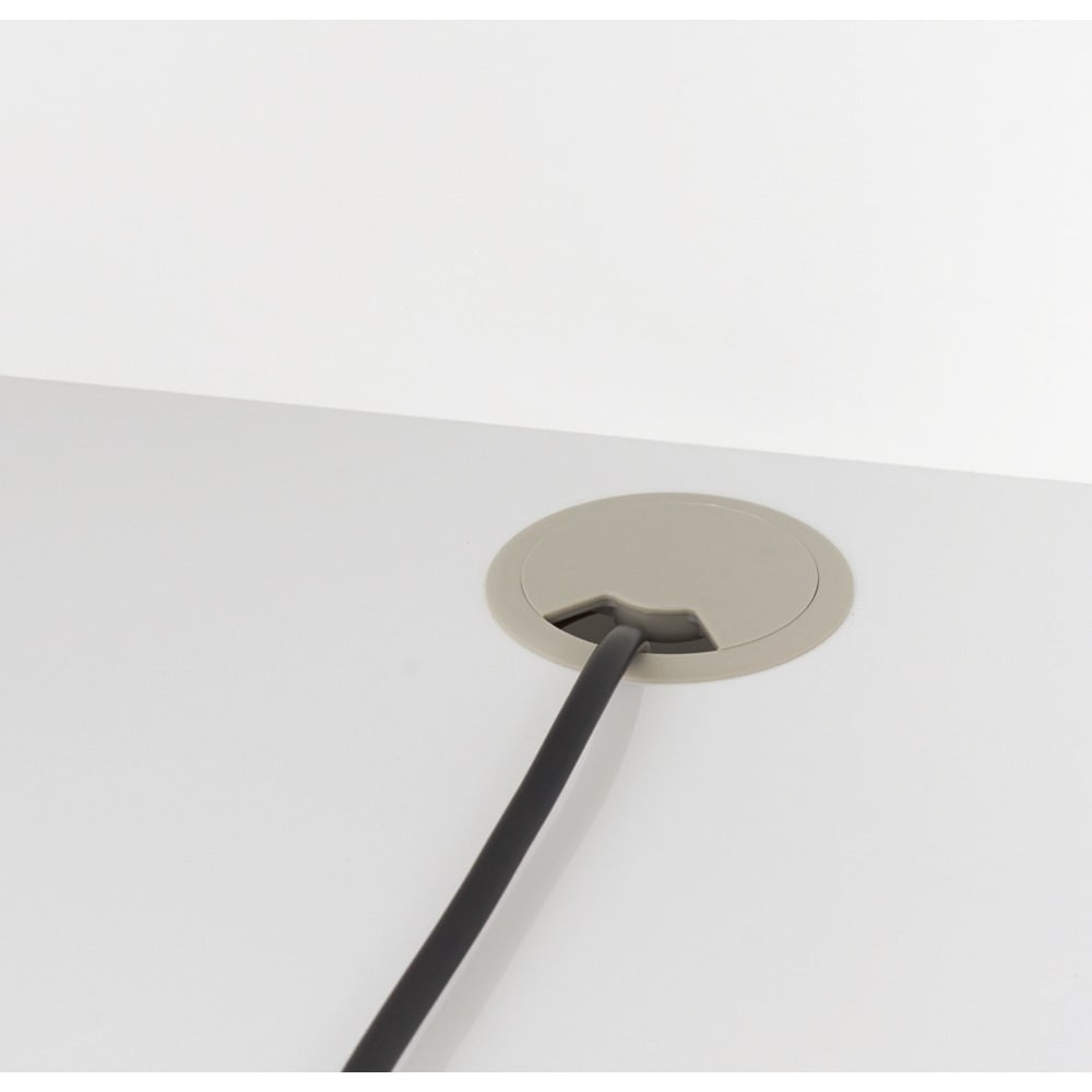 LEDライト付きコレクションシェルフ PCデスク 幅58cm 天板の奥に配線用のコード穴付き。
