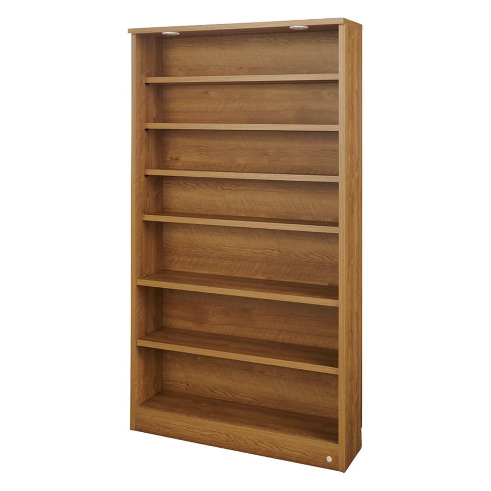 美しく本を照らすLED付き 本を愛する人のための書店風本棚 幅100cm (ウ)ブラウン ※棚板は水平な状態でも使用できます。