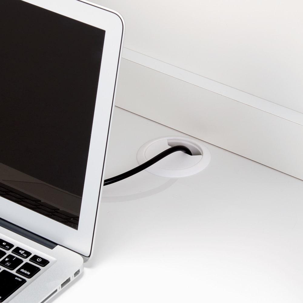 モダンブックライブラリー キャビネットタイプ 幅80cm 中天板の奥に配線用のコード穴付き。