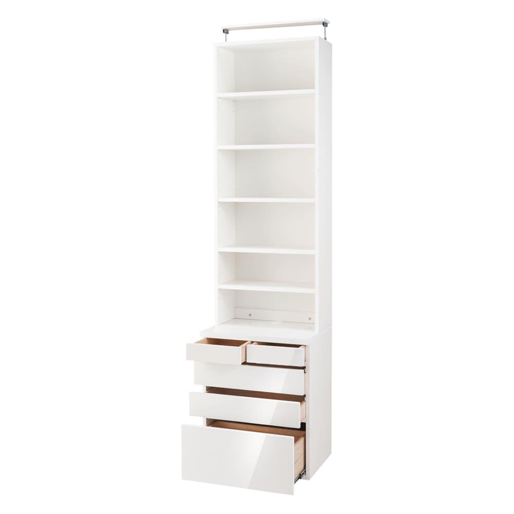 家具 収納 本棚 ラック シェルフ CDラック DVDラック モダンブックライブラリー 天井突っ張り式 チェストタイプ 幅80cm 554145