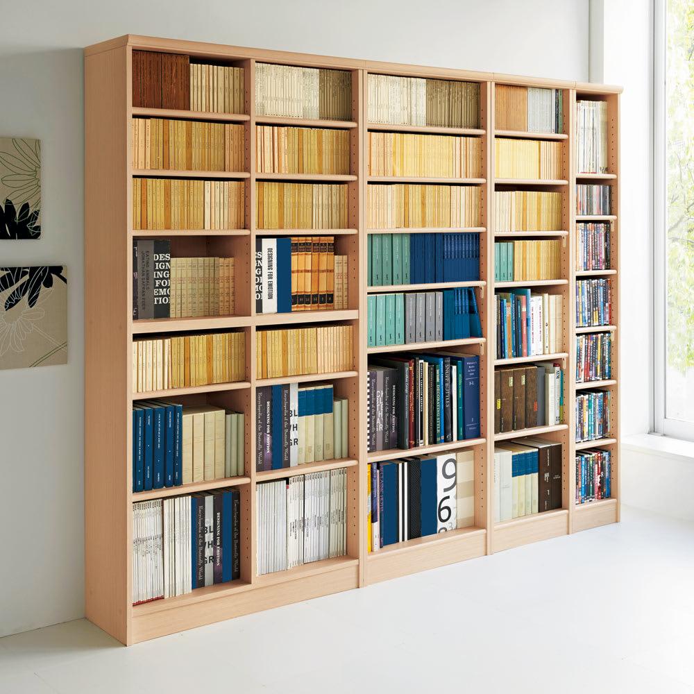 色とサイズが選べるオープン本棚 幅44.5cm高さ150cm コーディネート例(ア)ライトナチュラル ※お届けする商品とはサイズが異なります。