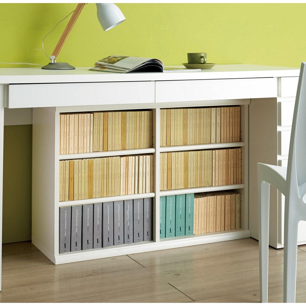 色とサイズが選べるオープン本棚 幅44.5cm高さ150cm コーディネート例(イ)ホワイト ※お届けする商品とはサイズが異なります。