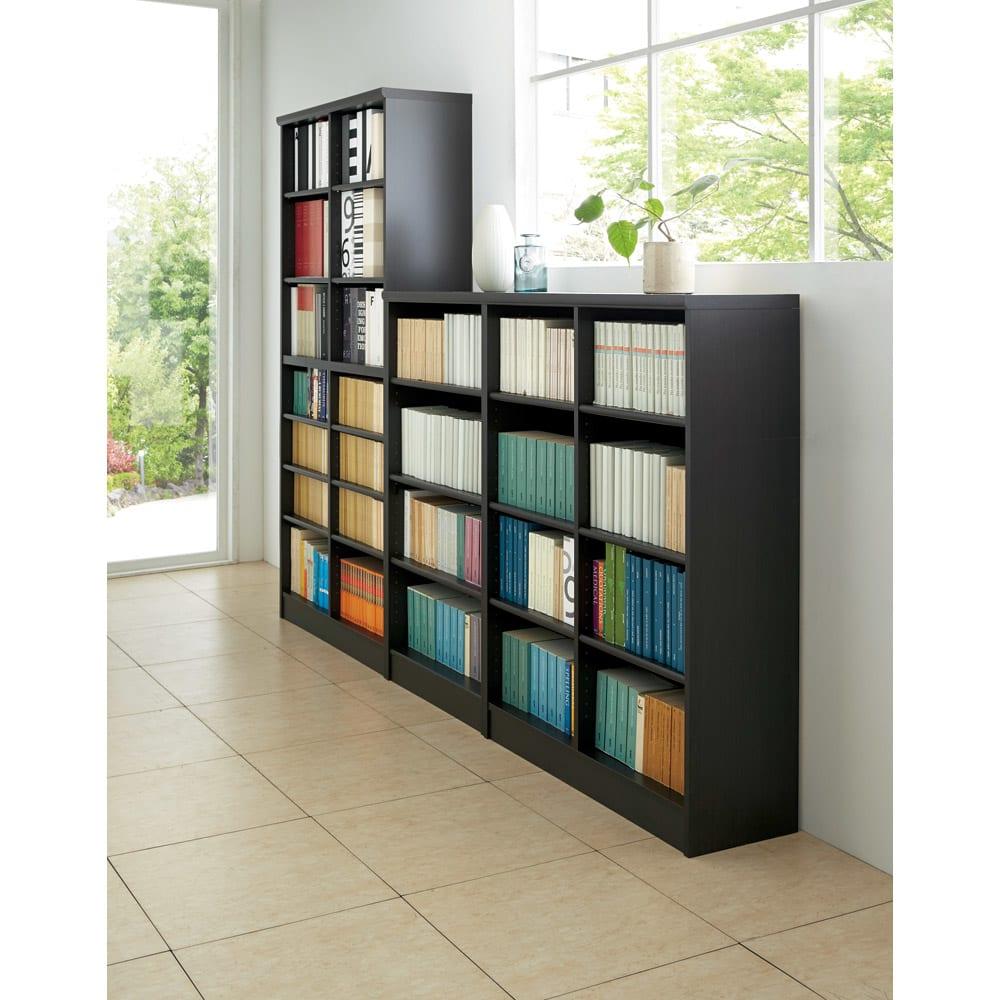 色とサイズが選べるオープン本棚 幅86.5cm高さ150cm コーディネート例(エ)ダークブラウン ※お届けする商品とはサイズが異なります。