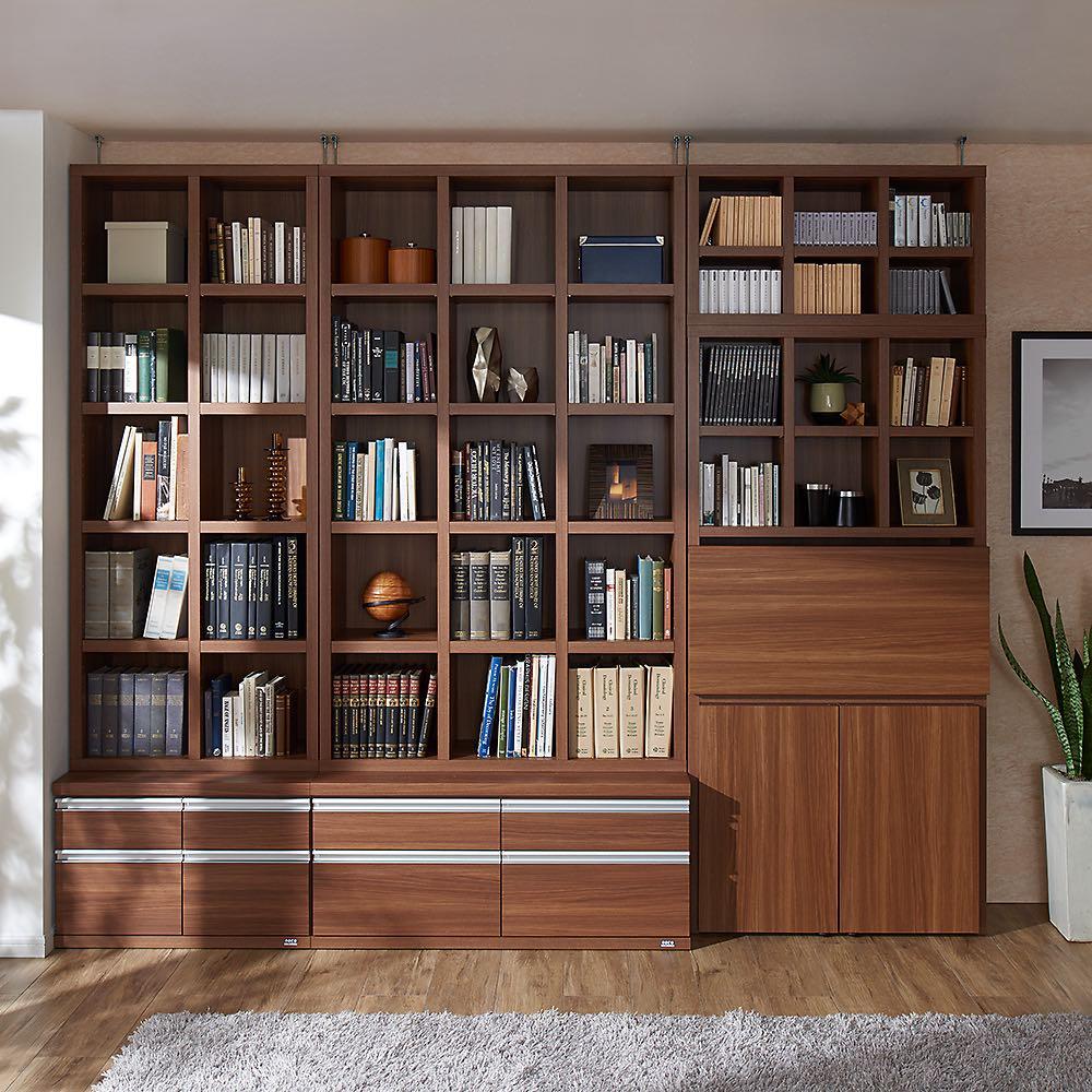 【完成品】重厚感のあるがっちり本棚シリーズ チェスト付き 幅75高さ162奥行45cm 色見本(ア)ダークブラウン