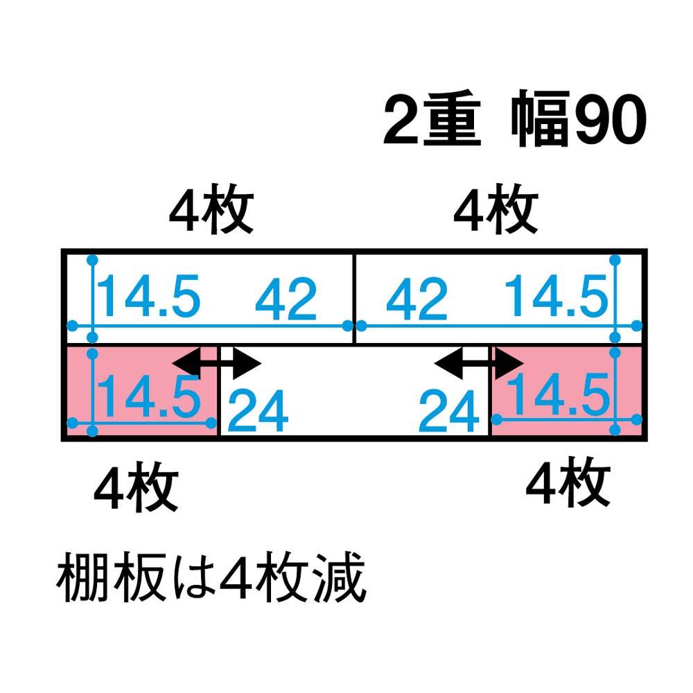 スライド式CD&コミックラック 2重タイプ4段 幅90cm [コミック・文庫本・DVD用] 平面図(単位:cm) ※ピンク色部分はスライド棚です。○枚=棚板の枚数。