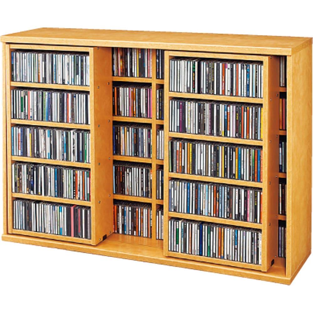 スライド式CD&コミックラック 2重タイプ4段 幅120cm [コミック・文庫本・DVD用] (ア)ライトブラウン