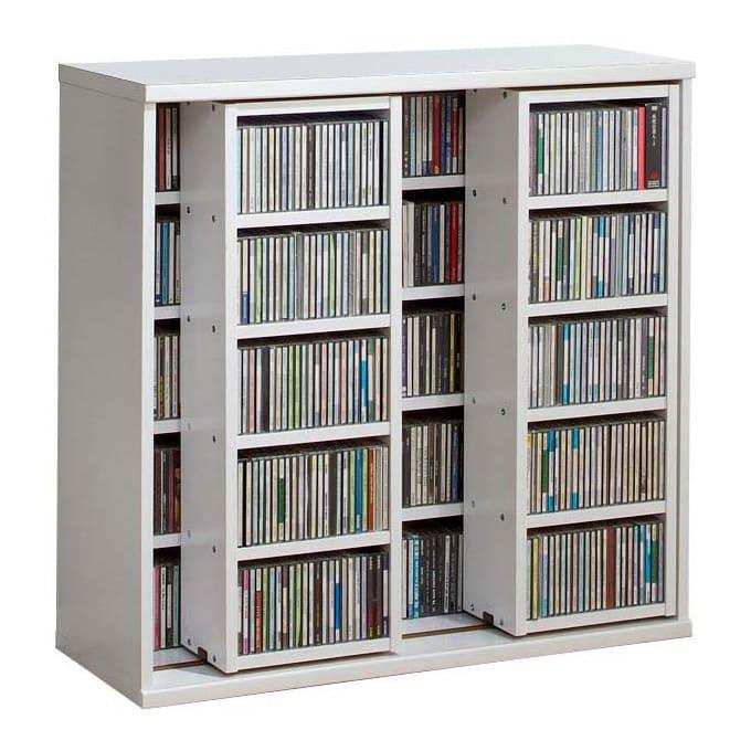 スライド式CD&コミックラック 2重タイプ5段 幅90cm [CD用] (ウ)ホワイト