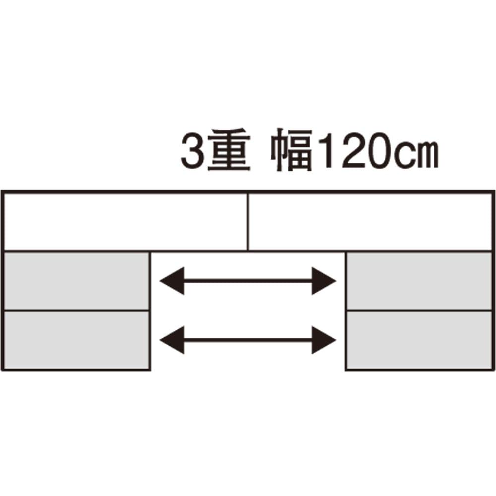 スライド式CD&コミックラック 3重タイプ4段 幅120cm [コミック・文庫本・DVD用] 【平面図】 3重幅120cm