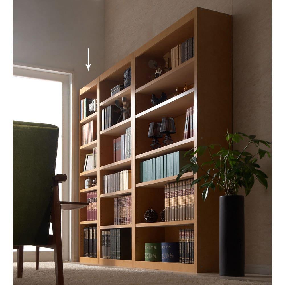 頑丈棚板がっちり書棚(頑丈本棚) ハイタイプ 幅50cm (ア)ライトブラウン ≪組合せ例≫ ※お届けは幅50高さ180cmです。