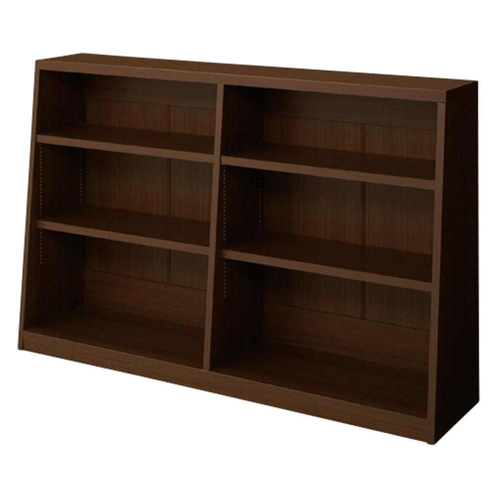 脚元安定1cmピッチ棚板頑丈薄型書棚 高さ76.5cm 【幅118cmタイプ】(ア)ダークブラウン