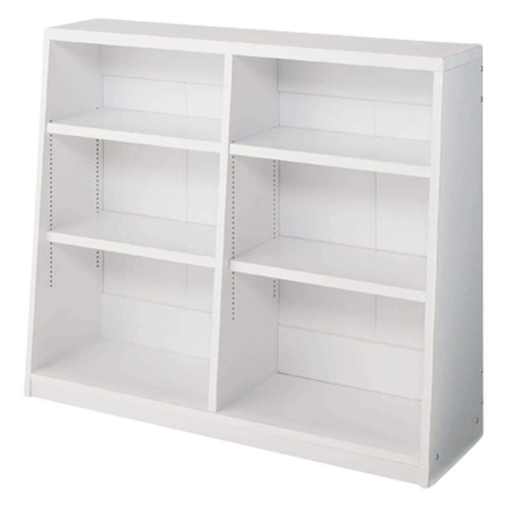 脚元安定1cmピッチ棚板頑丈薄型書棚 高さ76.5cm 【幅90cmタイプ】(イ)ホワイト