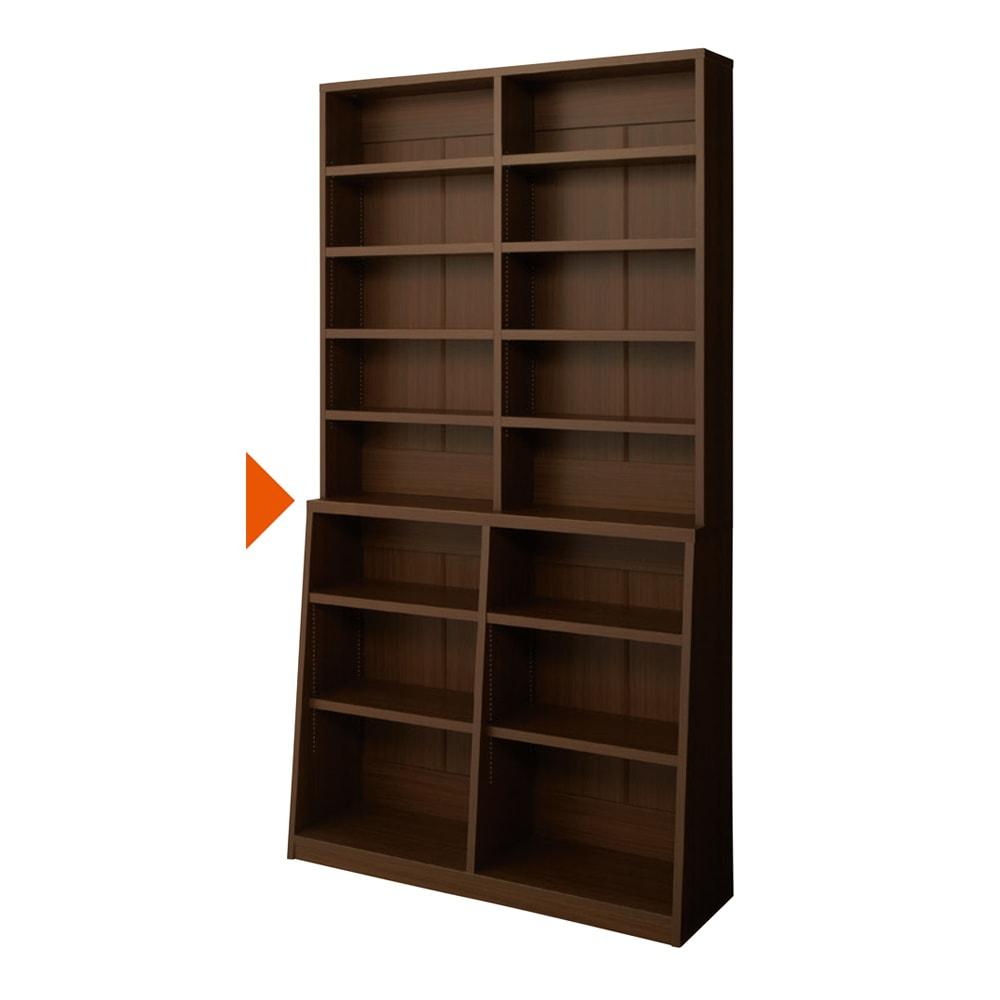 脚元安定1cmピッチ棚板頑丈薄型書棚 高さ168.5cm 【幅90cmタイプ】(ア)ダークブラウン ▲は固定棚です。