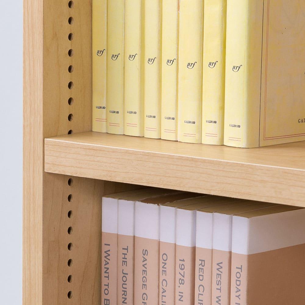 脚元安定1cmピッチ棚板頑丈薄型書棚 高さ168.5cm 可動棚板は1cmピッチで高さ調整可能。