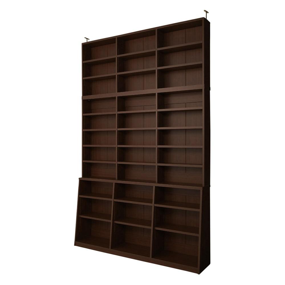 脚元安定1cmピッチ棚板頑丈薄型書棚 突っ張りタイプ本体高さ232.5cm 【幅150cmタイプ】(ア)ダークブラウン