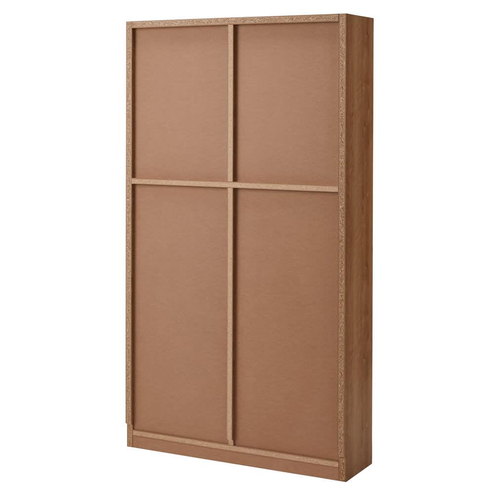 組立不要 天然木調棚板頑丈本棚 奥行19cm 背面 ※写真は幅100cmタイプ