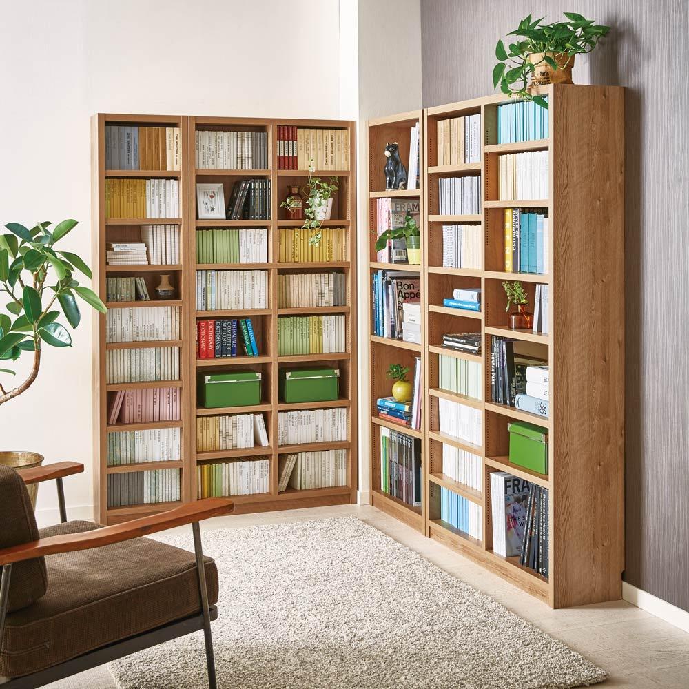 組立不要 天然木調棚板頑丈本棚 奥行19cm コミックや文庫本の収納に適した奥行19cmタイプ。