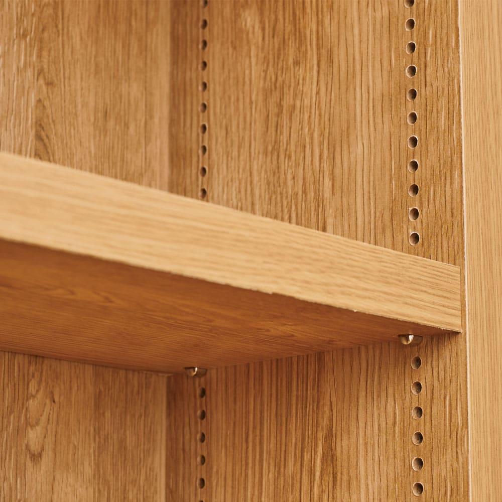 組立不要 天然木調棚板頑丈本棚 奥行19cm 棚板は1cm刻みで細かく高さ調節できます。