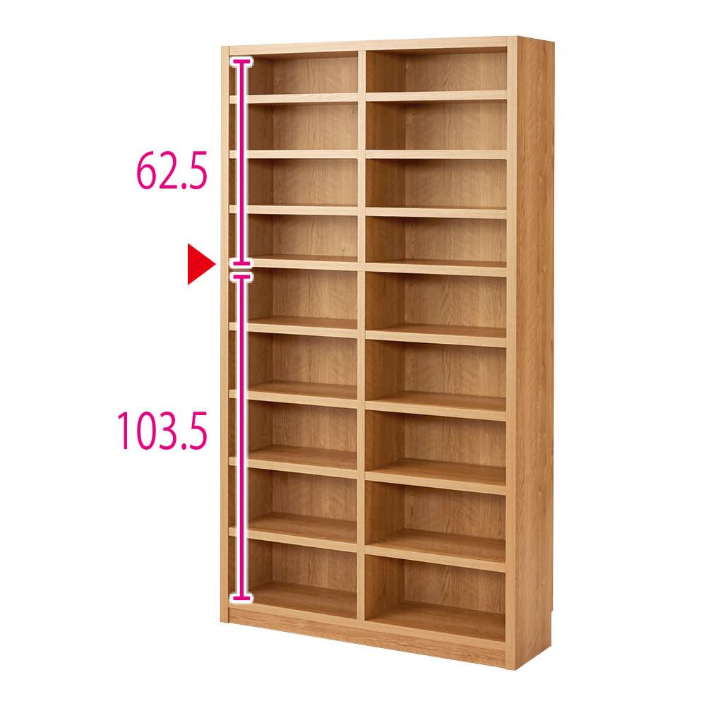 組立不要 天然木調棚板頑丈本棚 奥行29cm ※赤字は内寸(単位:cm) ※写真は幅100cmタイプ