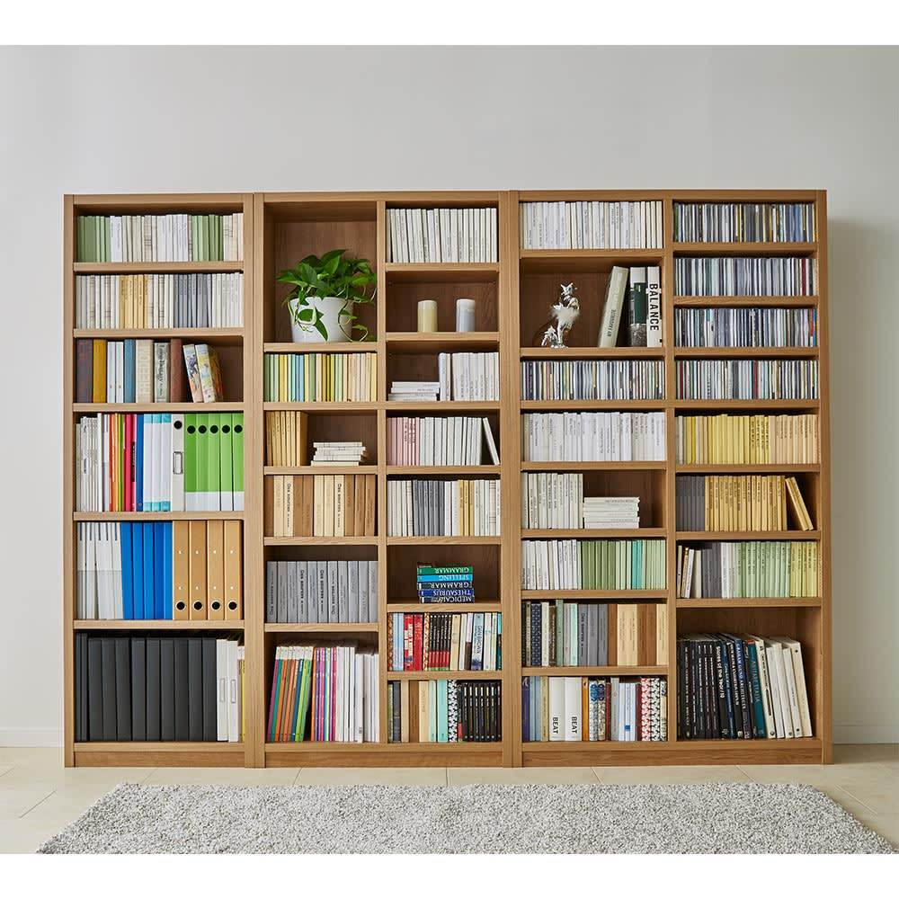 組立不要 天然木調棚板頑丈本棚 奥行29cm 北欧風のお部屋にも合わせやすい天然木風の装い。