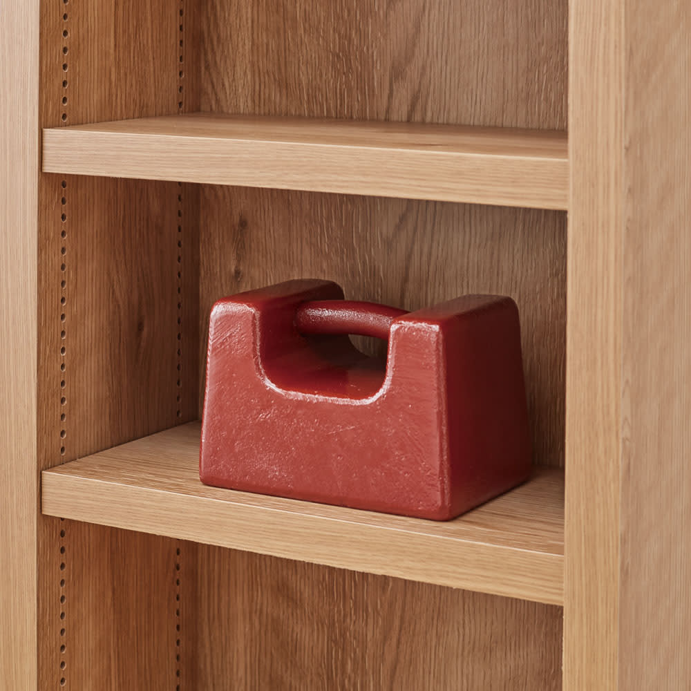 組立不要 天然木調棚板頑丈本棚 奥行29cm 棚板1枚あたりの耐荷重約20kgの頑丈仕様。