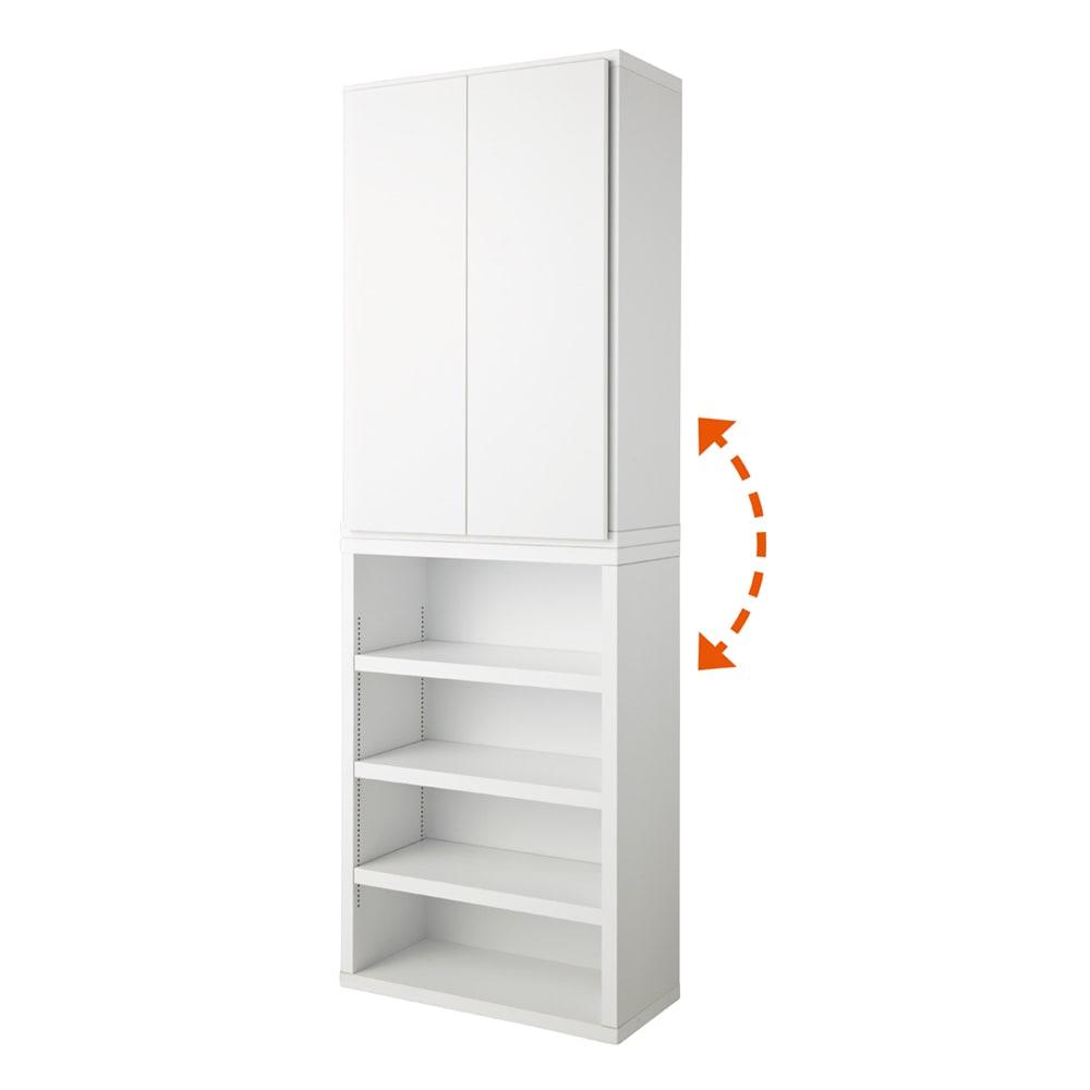 組立不要1cmピッチ頑丈棚板本棚 オープン&扉タイプ 【幅60cmタイプ】(イ)ホワイト ※オープンと扉は、上下どちらにも設置可能。上下連結ボルトでしっかりと固定できます。