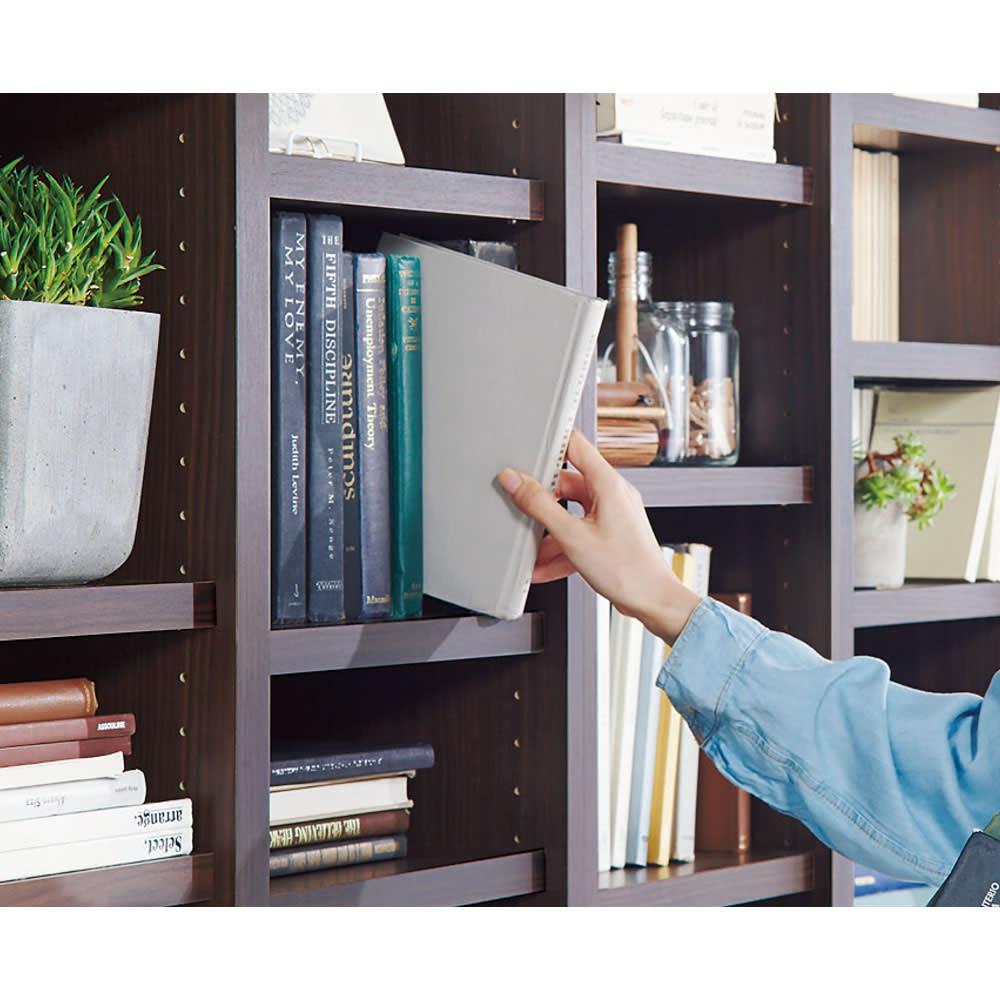 ベンチブックシェルフ 本体 幅78cm 【見つかる】棚板は幅が短く、全段3cmピッチ可動式。サイズやジャンルごとに分類しやすく検索性もUP。