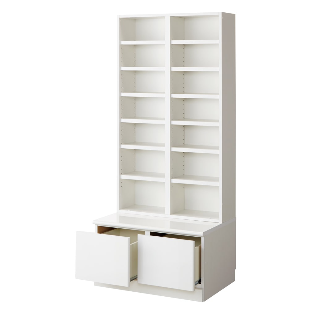 ベンチブックシェルフ 本体 幅116.5cm (ア)ホワイト(※写真は幅78cmタイプ)