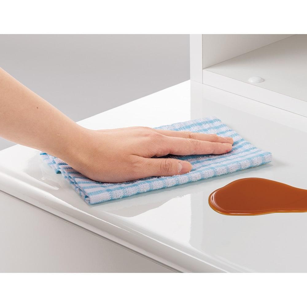 ベンチブックシェルフ 本体 幅116.5cm 前板とベンチ部は汚れに強くお手入れも簡単。