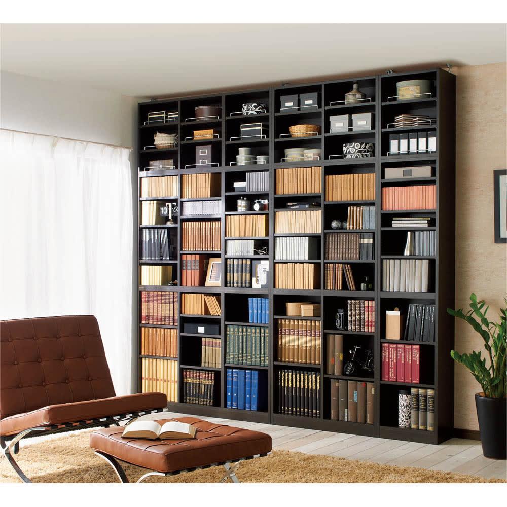 1cmピッチ薄型壁面書棚 奥行19cm 幅123cm 上置き高さ55cm オープン (ア)ダークブラウン色見本