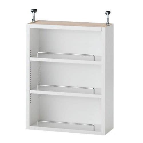 1cmピッチ薄型壁面書棚 奥行28cm 幅123cm 上置き高さ55cm オープン (イ)ホワイト 写真は幅42奥行20cmタイプです。