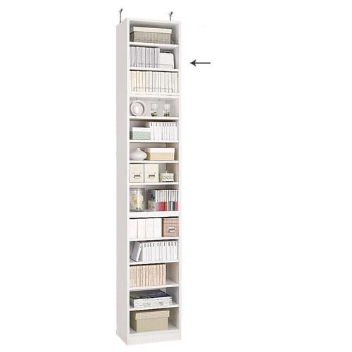1cmピッチ薄型壁面書棚 奥行28cm 幅123cm 上置き高さ55cm オープン (イ)ホワイト色見本 写真の上置きは幅42cmタイプです。