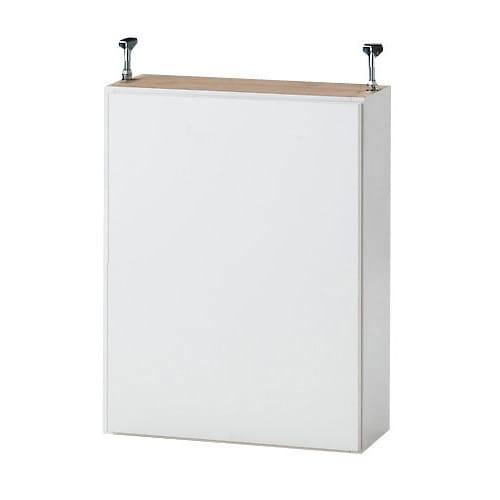 1cmピッチ薄型壁面書棚 奥行20.5cm 幅82cm 上置き高さ55cm 扉 (イ)ホワイト色見本 写真は幅42cmタイプです。