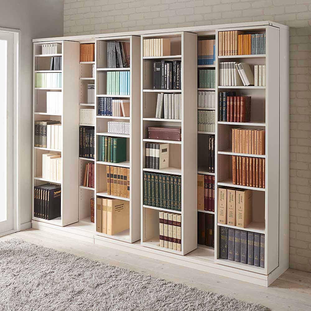 本格仕様 快適スライド書棚 オープン 4列 使用イメージ(ウ)ホワイト(木目)