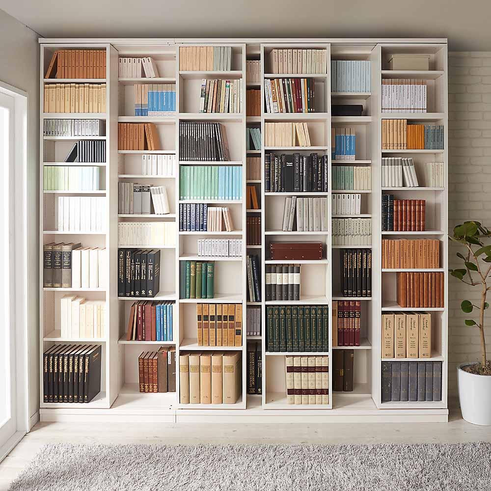 本格仕様 快適スライド書棚 オープン・上置き付き 4列 使用イメージ(ウ)ホワイト(木目) ※お届けは右側のスライド書棚3列タイプです。