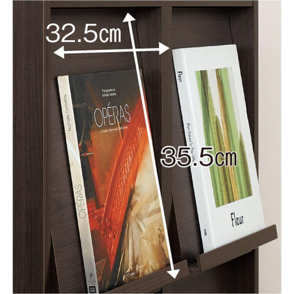 奥行39cm マガジン&レコードキャビネット 上段 扉タイプ2段2列[高さ79・幅75.5cm] フラップ扉前面はLPレコードも飾れるサイズ。厚さ約1.5cmの雑誌などもディスプレイでき、飾ったままでも開閉できます。
