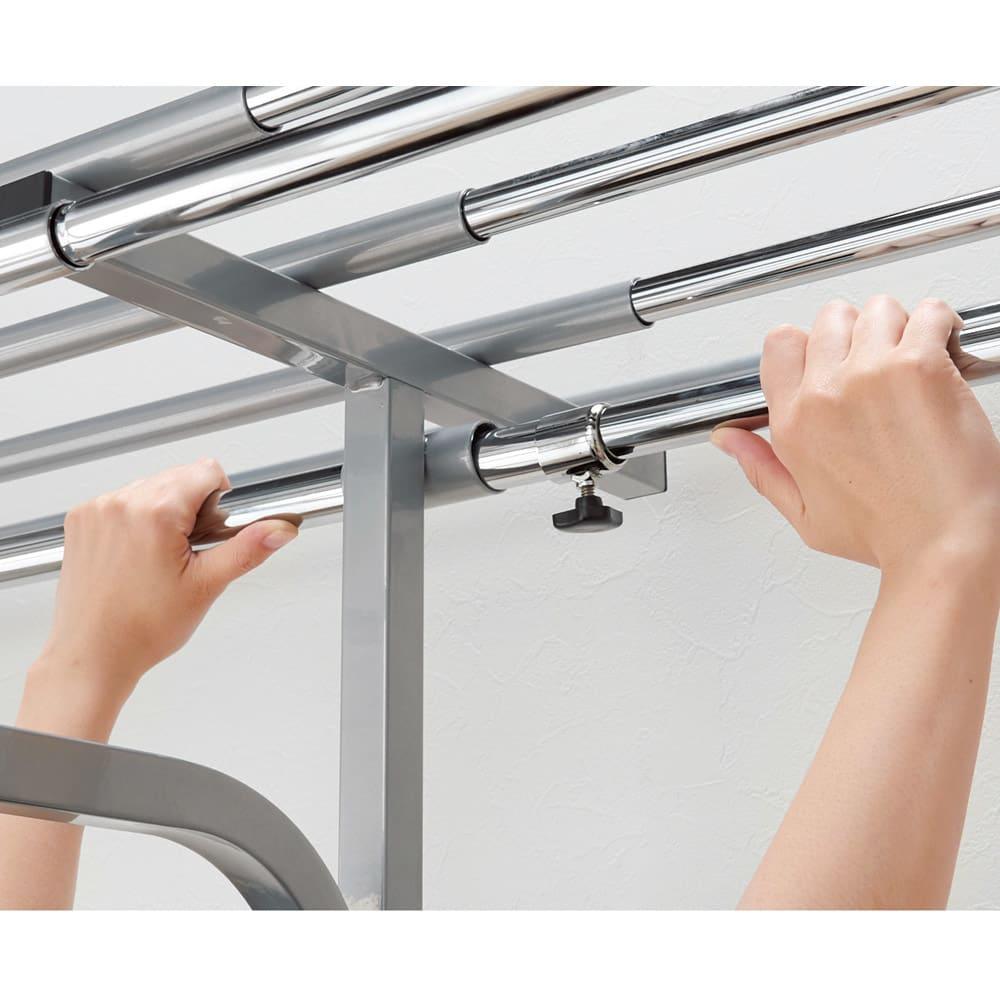 奥行53cm 上下カーテン付き突っ張り頑丈ハンガーラック ハイタイプ・【標準】幅147~200cm 中間リングをゆるめるだけで簡単に伸縮できます。