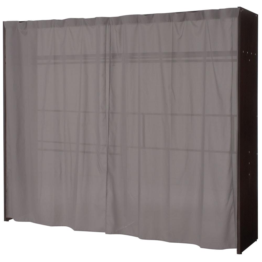 カーテン付き アーバンスタイルクローゼットハンガー 引き出しなし・幅145~250cm対応 カーテンを閉じた場合。うっすらと内部が透けますが、壁面に設置すると見えなくなります。