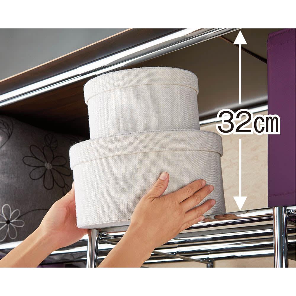 カーテン付き アーバンスタイルクローゼットハンガー 引き出し付きタイプ・幅144~200cm対応 上段の棚はバッグや子、箱物の収納に重宝します。