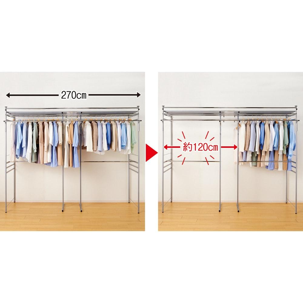 奥行79cm 上下カーテン付き突っ張り頑丈ハンガーラック ロータイプ・【標準】幅137~230cm対応 「前後2列のダブル掛け」で収納力が約1.5倍にアップ。左は通常のシングル掛け、右は本品・前後2列のダブル掛けにそれぞれ同じ量の衣類を掛けたところ、本品に約120cmの余裕が生まれました。(※収納量は衣類やハンガーの形状によって異なります。)