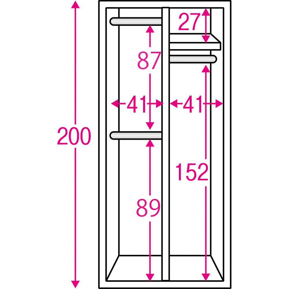 通気性の良い 引き戸ルーバーワードローブ 幅90cm 内部の構造図(単位:cm)