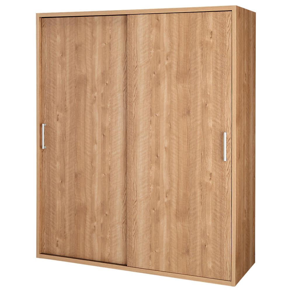 【オシャレな北欧風デザイン】天然木調 引き戸クローゼットハンガー 幅150cm (イ)ブラウン