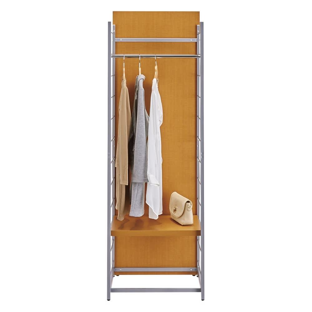 お手軽間仕切り パネル収納ハンガーラック 板タイプ ハンガー1段棚1枚 幅60cm (イ)ブラウン(表:収納面) 棚板およびハンガーバーは14cm間隔12段階に可動できます。