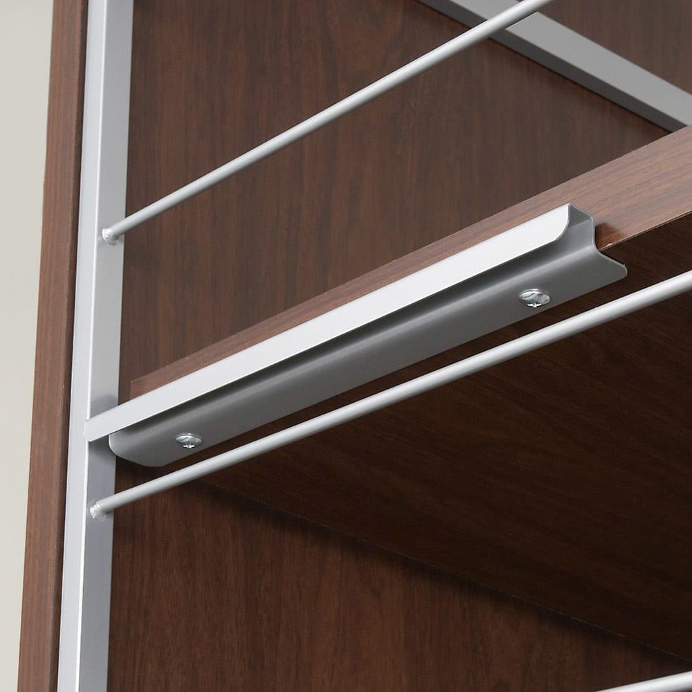 手軽に間仕切り パネル収納 「ミラータイプ」  棚4枚・幅60cm ハンガーバー・棚板は14cm間隔で可動できます