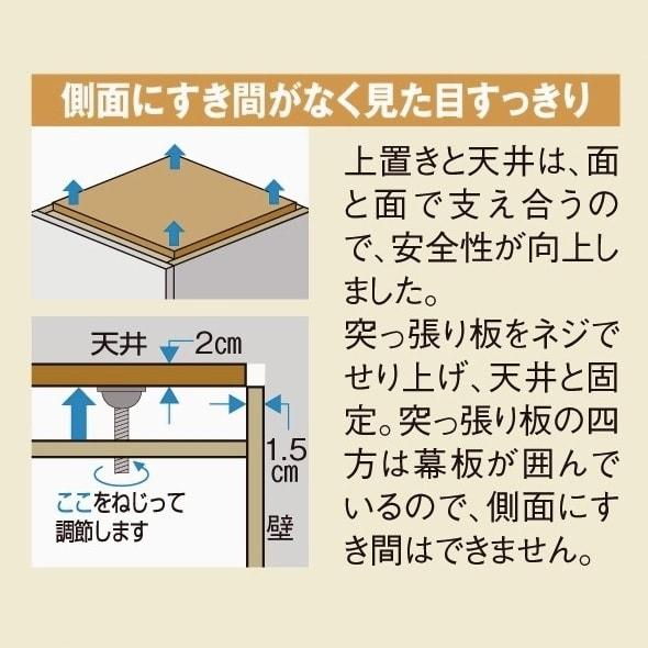 壁面間仕切りワードローブ 幅60cm用「オーダー上置き」・高さ26~90cm(1cm単位オーダー) 突っ張り方法