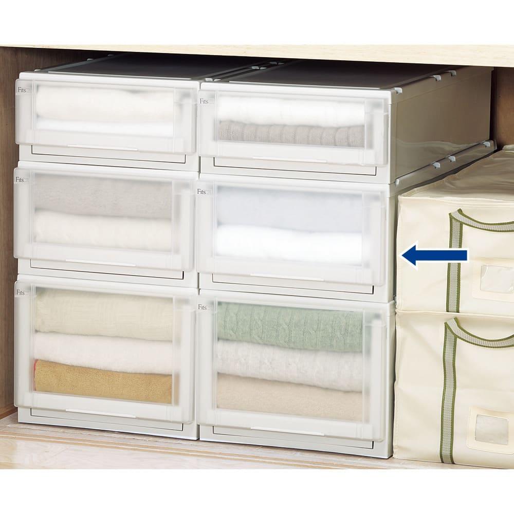 【新色のホワイト初登場!】フィッツユニット(Fits unit)収納ケース2個組 【奥行55cmタイプ】幅35・高さ25cm 【組み合わせ例】押入れ収納としても便利にお使いいただけます。