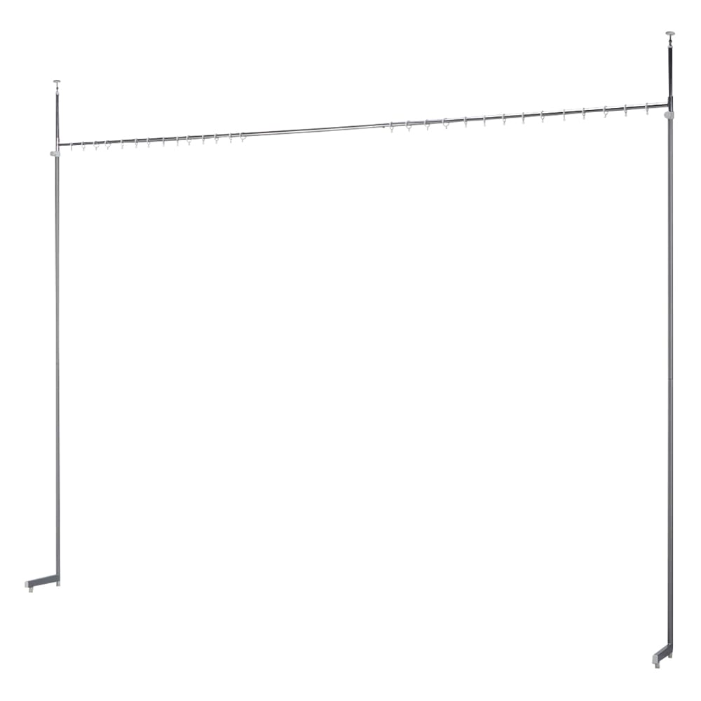 突っ張り&伸縮式目隠しカーテン リングタイプ 商品イメージ(リングタイプ) ※L字型の脚部となります。