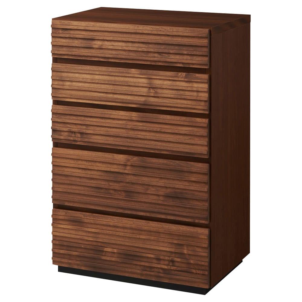 天然木横格子柄のローチェスト 幅60cm・5段 商品画像