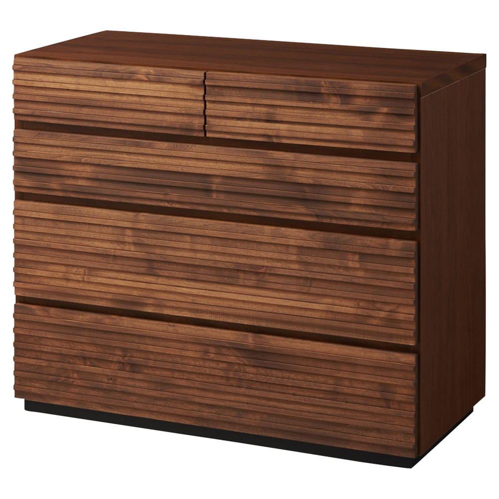 天然木横格子柄のローチェスト 幅90cm奥行44cm・4段 商品画像